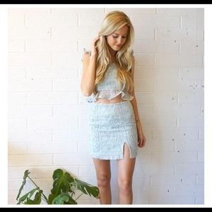 Blue Lace J.O.A Two Piece Skirt & Crop Top